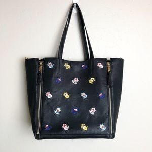 XOXO | Black Embroidered Floral Detail Tote